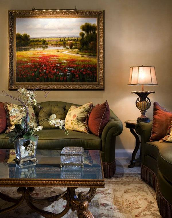 Классический летний пейзаж в интерьере гостиной